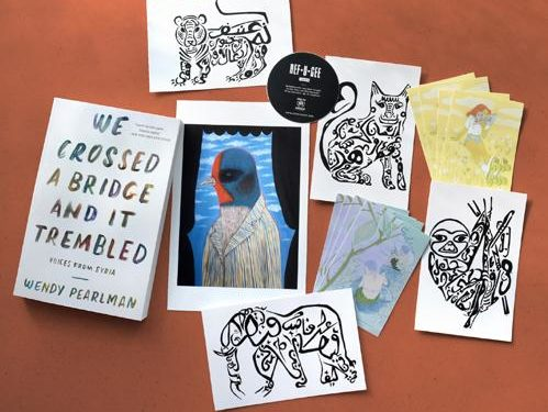 perks for we crossed a bridge and it trembled - postcards, book plates, art prints, and a paperback book